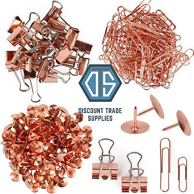 Rose Gold Copper Office Stationary Paperclips, Push Pins And Bulldog Clips  • 3.75£
