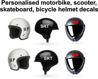 Personalised Crash Helmet Initials Stickers Motorbike, Scooter, Bicycle 75mm. • 1.99£