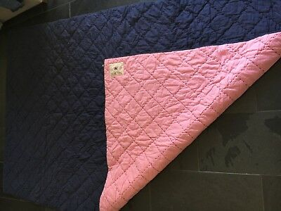 New Jack Wills Single Quilted Bed Cover Throw Pink Navy Blue 100% Cotton Ex Con • 29.99£