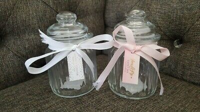 Small Ribbed Glass Sweet Jar & Lid Candy Food Storage Pot Vintage Wedding Favour • 6.99£