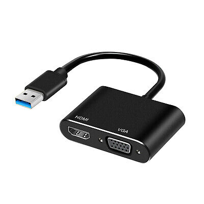 AU25.95 • Buy USB 3.0 To HDMI + VGA Full HD 1080p Video Adapter Cable Converter For PC Laptop