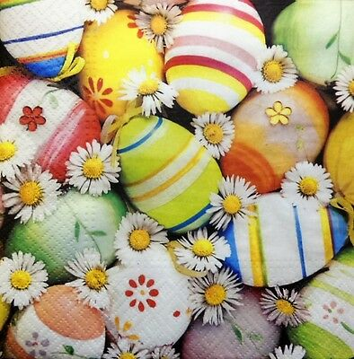 4 X Paper Napkins Easter Colorful Eggs Flowers For Decoupage Crafting Table 137 • 1.15£