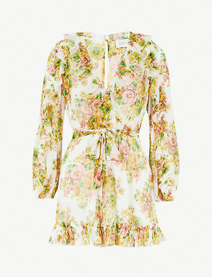 NWT AUTHENTIC ZIMMERMANN Golden Ruffled Silk-georget Romper Playsuit 0 1 2  • 269.95$