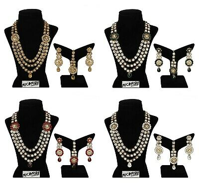 Indian Fashion Set Jewelry Necklace Bridal Gold Plated Bollywood Wedding Style • 21$