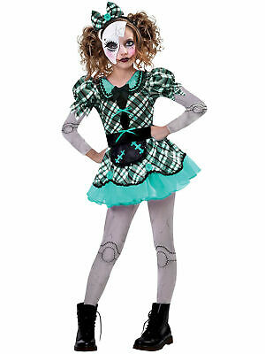 Girls Dark Doll Costume Fancy Dress Horror Creepy Spooky Child Halloween Outfit • 16.95£