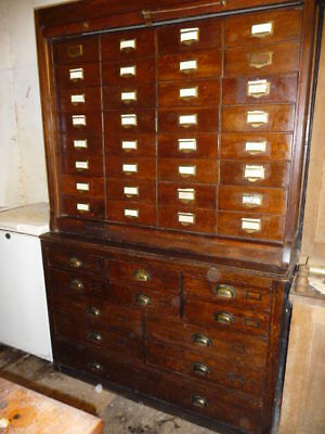 Antique Oak 43 Drawer Chest Cabinet Tallboy Office Wine Rack Collectors Rolltop • 2,995£