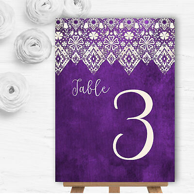 £2.95 • Buy Cadbury Purple Old Paper & Lace Effect Wedding Table Number Name Cards