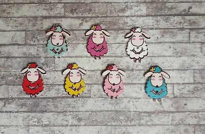 £3.95 • Buy 20 Wooden Sheep Buttons Cute Lamb Animals Novelty Craft Embellishments 30mm UK