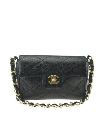 bb73269d3230 Chanel Vintage Classic Square Black Caviar Quilted Leather Clutch •  1,248.00$