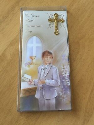 £3.99 • Buy 1st Holy Communion Boxed Card Boys Gold Crucifix Design First Religious Gift