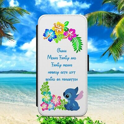 £9.99 • Buy Tropical Ohana Stitch Floral Flip Wallet Phone Case For Iphone Samsung Huawei