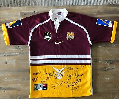 AU650 • Buy Brisbane Broncos NRL Premiership Jersey SIGNED By FULL 1999 Squad - (AUTHENTIC)