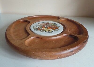 £13.99 • Buy Large Wooden Round Board Lazy Susan Serving Tray Party Platter Ceramic Insert Ki