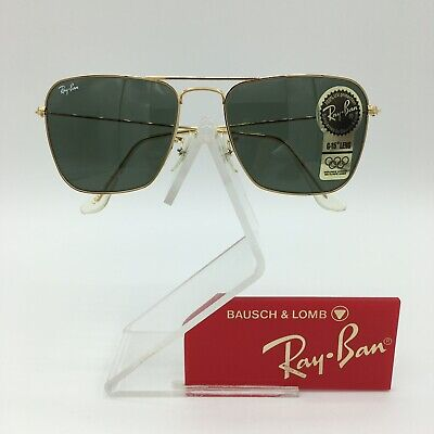 cc49e0f6f347d New Vintage B L Ray Ban Small Caravan 52mm Gold L0226 Square Aviator USA  NOS • 239.00