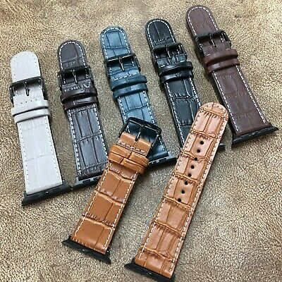 Apple Watch Size 38/40/42/44mm Black Tone Buckle Leather Watch Strap Band A-139 • 7.66£