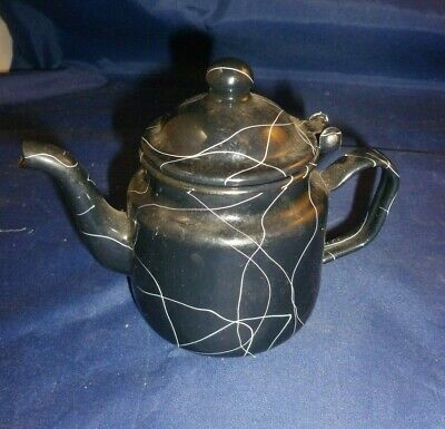 $15 • Buy MCM Black Enamel TeaPot One Cupper Spagetti String Design