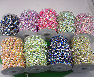 $7.99 • Buy Costume Applique 6mm Lot Color Jelly Crystal Rhinestone Silver Trimming Chain