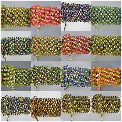 $7.99 • Buy Costume Applique 6mm Lot Color Jelly Crystal Rhinestone Gold Cup Trimming Chain
