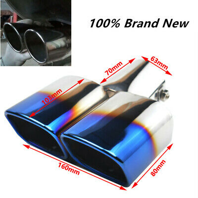 $ CDN31.62 • Buy Stainless Steel 1 To 2 Dual Car Exhaust Tip Square Tail Pipe Muffler 63mm / 2.5