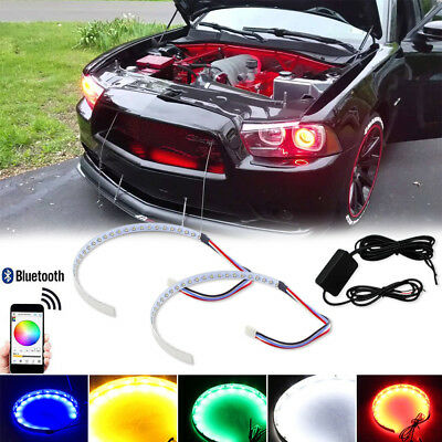 $24.99 • Buy 2pcs RGB LED Demon Eye Halo Ring Headlight BT APP Remote Control Projector Lens