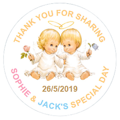 48 Personalised Baptism Stickers Christening Sweet Bag Seals 40mm Labels TWINS • 3.75£
