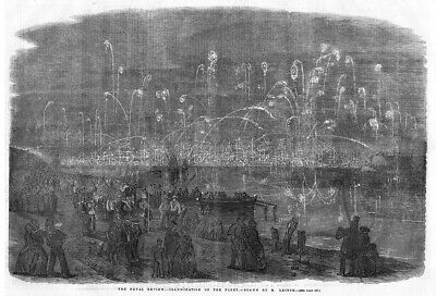 NAVAL REVIEW Illumination Of The Fleet And Fireworks - Antique Print 1856 • 12.95£