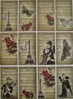 £1.89 • Buy Rice Paper Decoupage Scrapbook And Crafting Flowers Butterfly Music Tags 555