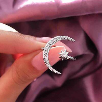 AU2.64 • Buy Star Moon 925 Silver,Rose Gold,Gold Women's Rings White Sapphire Size Adjustable