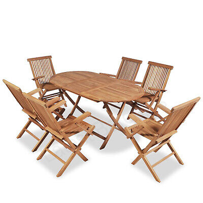 AU649.47 • Buy 7 Pc Outdoor Dining Set Wooden Timber Garden Furniture Table & Chair Setting