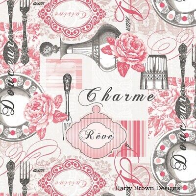 2 Paper Napkins / Serviettes For Decoupage / Parties / Weddings - French Charm • 1.35£