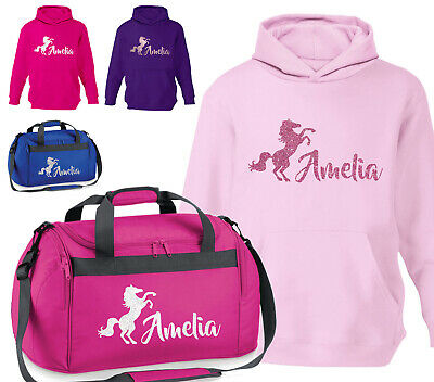 £15.25 • Buy Personalised Glitter Horse Riding Holdall Equestrian Hoodie Pony Rider Gift