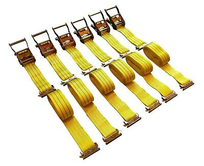 $43.99 • Buy 6-Pack 15' E-Track Ratchet Tie Down Strap Cargo Van Truck Enclosed Trailer