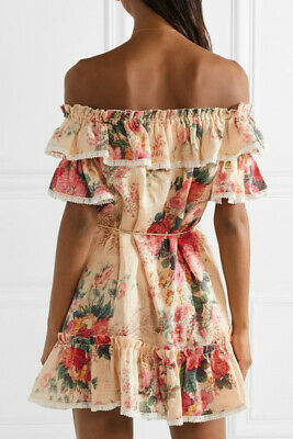 NEW ZIMMERMANN Laelia Off-The-Shoulder Floral Mini Dress Size 0 1 2 • 329.95$