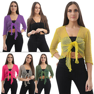 £9.99 • Buy Womens Open Front Tie Up Shrug Ladies Knitted Cropped Bolero Short Cardigan Top