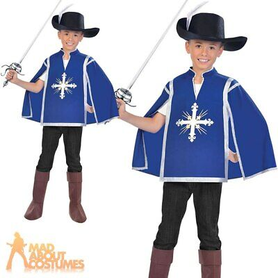 Kids Royal Musketeer Costume Medieval French Boys Fancy Dress Outfit Child • 11.49£