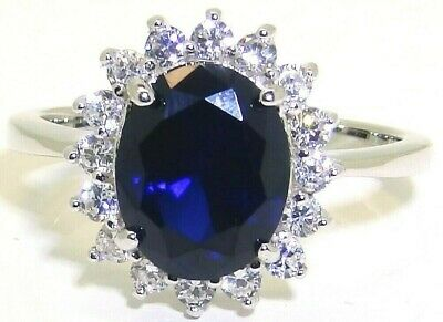 Sterling Silver 925 Blue Sapphire Diamond Diana Kate Cluster  Ladies Ring Size M • 21.95£