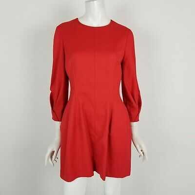 Zara Woman Size Large Red 3/4 SLeeve Fit Flare Career Cocktail Mini Dress  • 31.11$