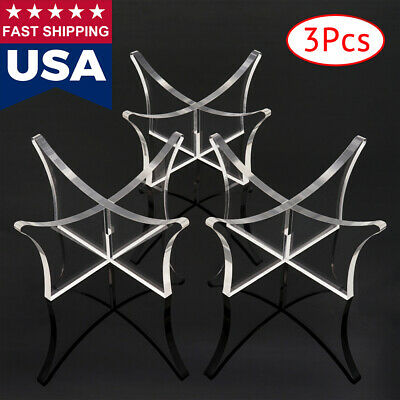 US 3pcs Acrylic Clear Ball Display Stand Rugby Basketball Football Soccer Holder • 9.93$