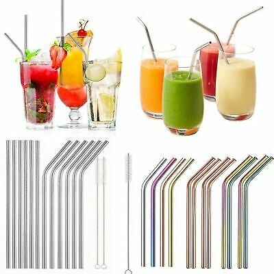 £2.79 • Buy Reusable Metal Straws Stainless Steel Eco-Friendly 6 Colours And Cleaning Brush