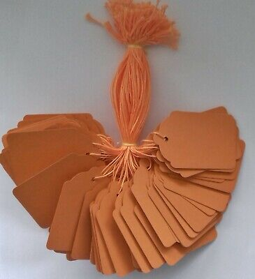 100 Orange Strung Price Tags 69mm X 44mm Swing Tickets Gift Labels Orange String • 2.30£