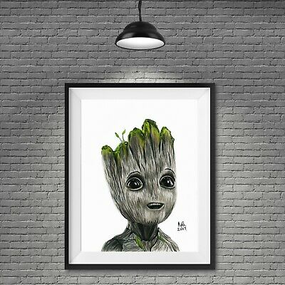 £12.50 • Buy Baby Groot Marvel Poster Picture Print Drawing Superhero A4 A3 Wall Art
