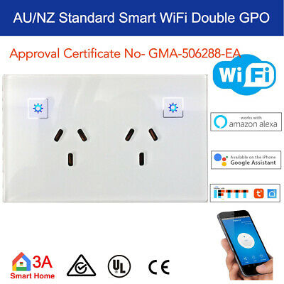 AU49.50 • Buy Smart WiFi Double Power Point GPO Switch For Google Home Alexa Home Automation