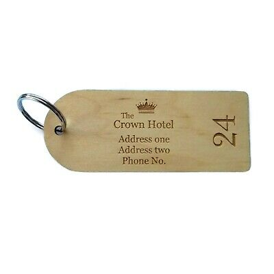 Maple Wooden Engraved Personalised Hotel Key Fobs Tags • 3.20£