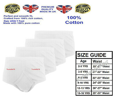 3/6/12 X Boys Soft Comfy 100% Cotton Y Front Underwear Pants White (Made In UK) • 6.49£