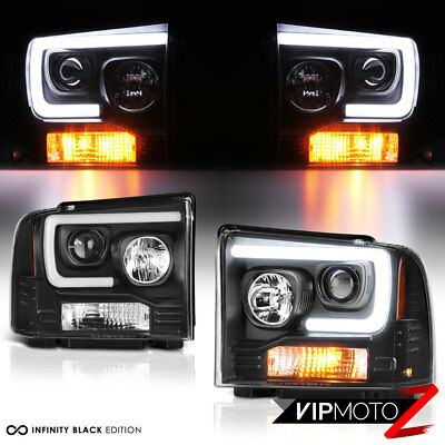 AU324.56 • Buy For 05-07 Ford F250 F350 F450 Superduty Black LED Tube Projector Headlight Lamp