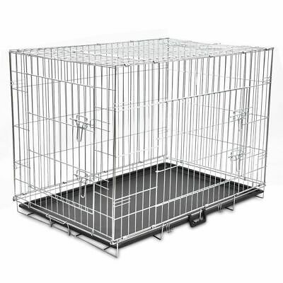 View Details Foldable Transportable Metal Dog Cage Bench Pet Suitcase Travel Carrier XL L0W0 • 50.24£