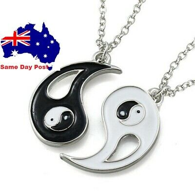 AU6.95 • Buy Ying Yang Pendant Necklace Chain Couple Friend Friendship Jewellery Gifts BFF