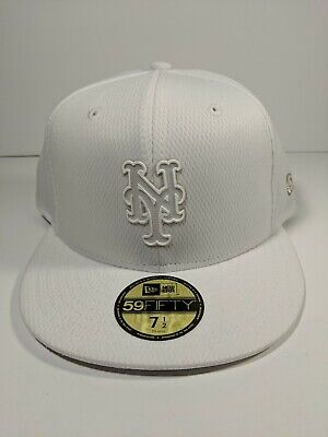free shipping fee8b a5e28 New York Mets NEW ERA 59FIFTY FITTED 7 1 2 HAT CAP White On White
