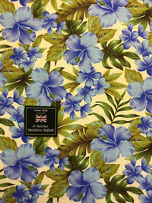 Cream & Blue Hawaiian Hibiscus Flowers Floral Printed 100% Cotton Poplin Fabric. • 5.50£
