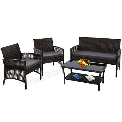 AU374.49 • Buy 4 Piece Outdoor Furniture Setting Rattan Wicker Sofa Table & Chairs Black